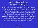 accounting methods and ratio analysis