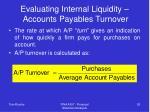 evaluating internal liquidity accounts payables turnover