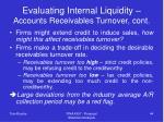 evaluating internal liquidity accounts receivables turnover cont