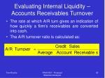 evaluating internal liquidity accounts receivables turnover