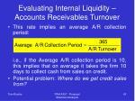 evaluating internal liquidity accounts receivables turnover43