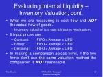 evaluating internal liquidity inventory valuation cont