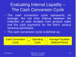 evaluating internal liquidity the cash conversion cycle