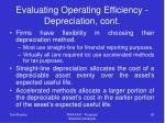 evaluating operating efficiency depreciation cont