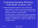 evaluating operating efficiency fixed asset turnover cont
