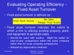 evaluating operating efficiency fixed asset turnover