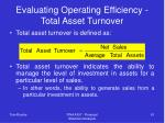evaluating operating efficiency total asset turnover