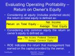 evaluating operating profitability return on owner s equity