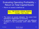 evaluating operating profitability return on total capital assets