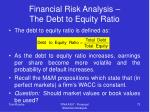 financial risk analysis the debt to equity ratio