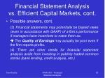 financial statement analysis vs efficient capital markets cont90