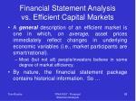 financial statement analysis vs efficient capital markets