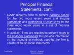 principal financial statements cont
