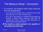 the balance sheet conclusion