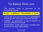the balance sheet cont