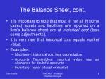the balance sheet cont8