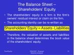 the balance sheet shareholders equity