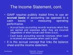 the income statement cont