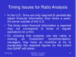 timing issues for ratio analysis