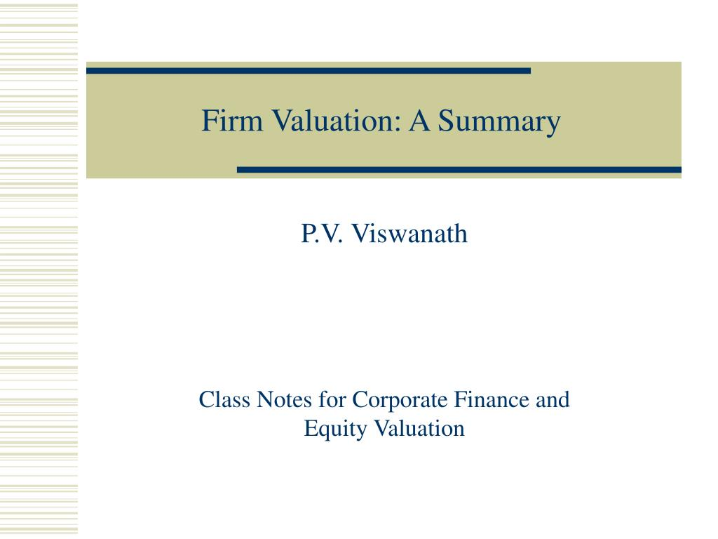 firm valuation a summary l.