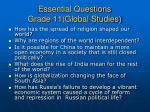 essential questions grade 11 global studies