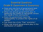 essential questions grade 9 government economics