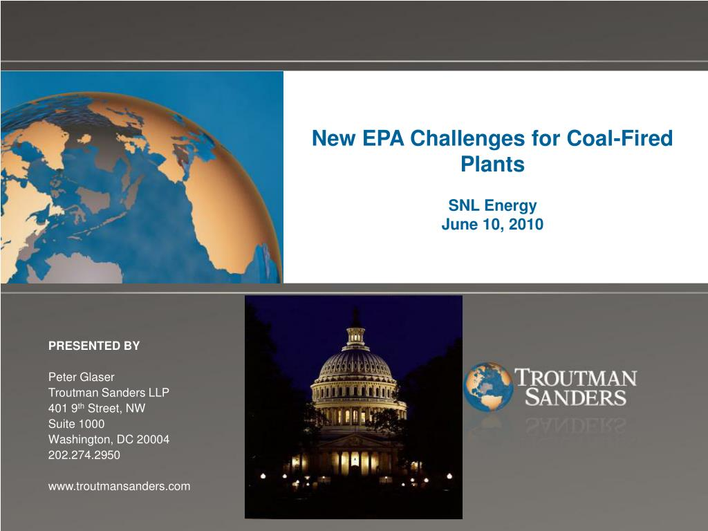 new epa challenges for coal fired plants snl energy june 10 2010 l.
