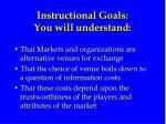 instructional goals you will understand