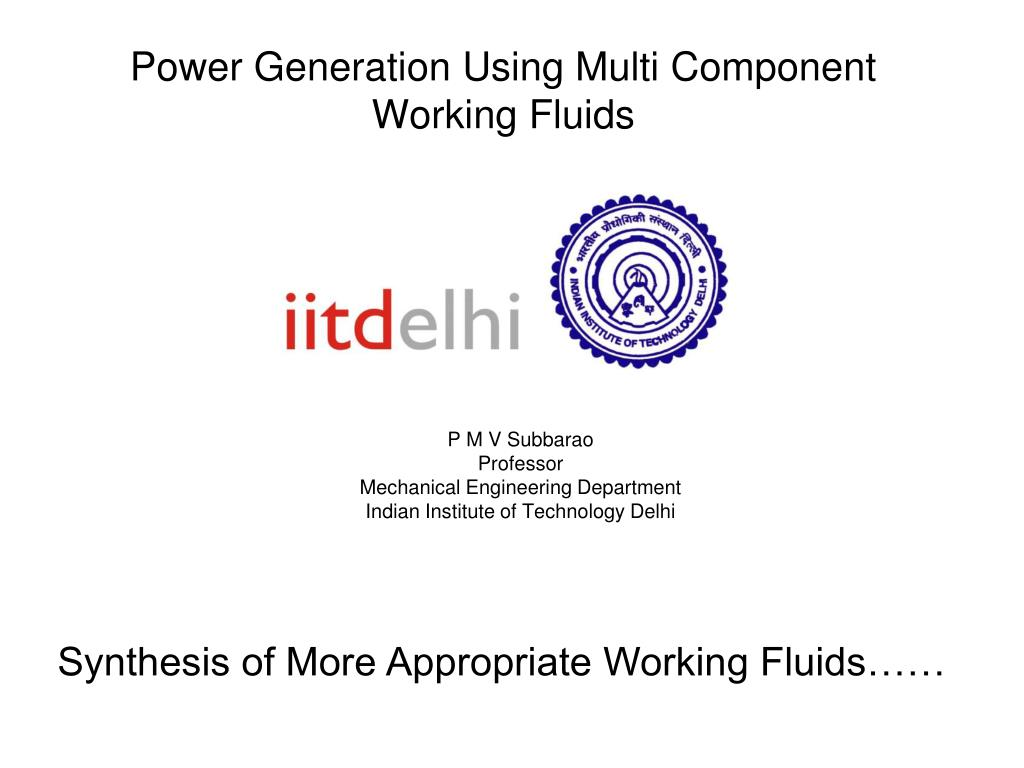 power generation using multi component working fluids l.