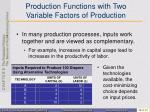 production functions with two variable factors of production