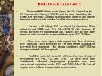 r d in metallurgy