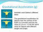 gravitational acceleration g