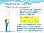 throwing a ball upward