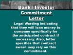 bank investor commitment letter