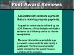 post award reviews