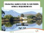 financing agriculture in southern africa requirements