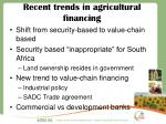 recent trends in agricultural financing