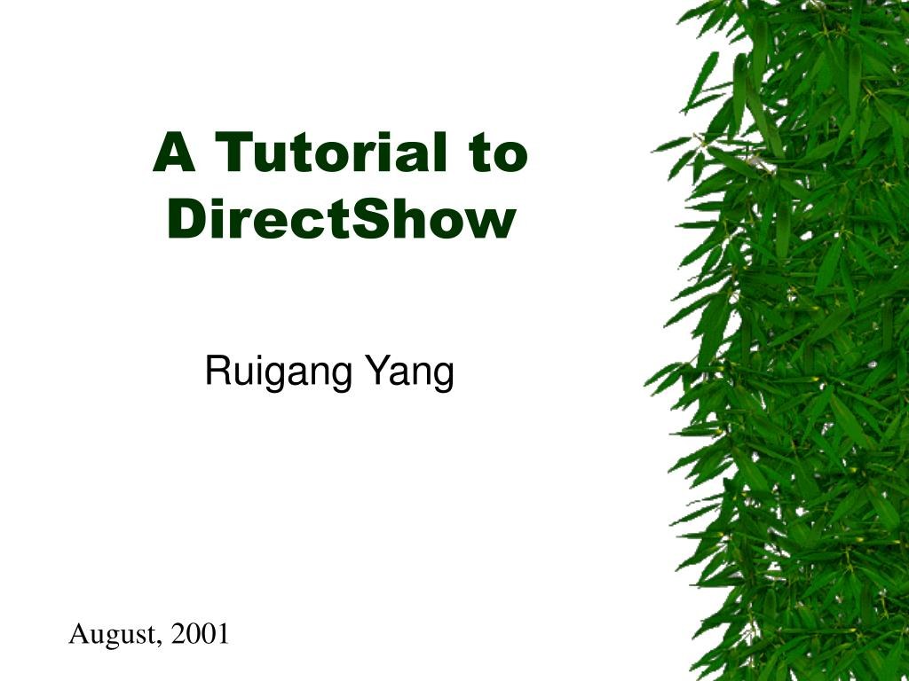 a tutorial to directshow l.