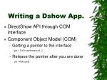 writing a dshow app