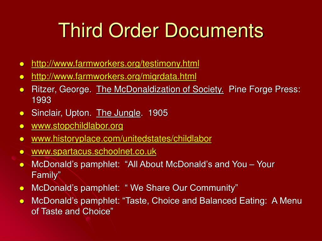 Third Order Documents