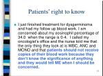 patients right to know