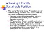 achieving a fiscally sustainable position