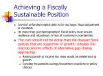 achieving a fiscally sustainable position7