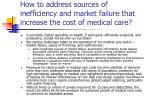 how to address sources of inefficiency and market failure that increase the cost of medical care