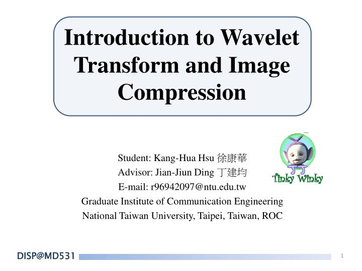 introduction to wavelet transform and image compression n.