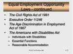 equal employment opportunity laws continued