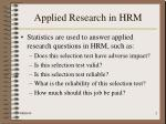 applied research in hrm