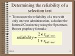 determining the reliability of a selection test14