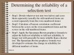 determining the reliability of a selection test15
