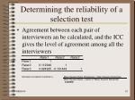 determining the reliability of a selection test18
